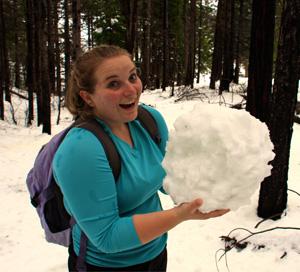 Ariel Hickman holding a snowball